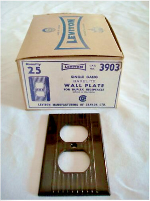 11 Vintage Leviton Ribbed Brown Bakelite Single Gang Duplex Wall Plate Nos 3903