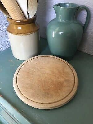 """Lovely Vintage Round Wooden Turned Bread Board-10"""" #3470"""