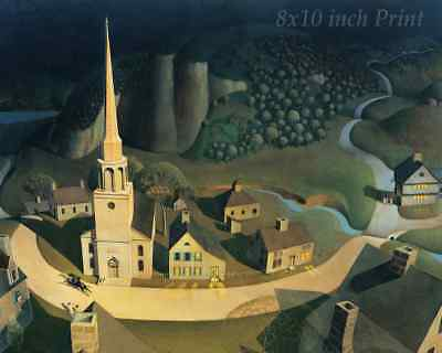 The Moonlight Ride of Paul Revere by Grant Wood - 8x10 Print Picture 1850