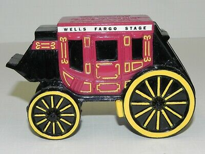 WELLS FARGO BANK and UNION TRUST CO. STAGE COACH CAST METAL COIN BANK - WITH KEY
