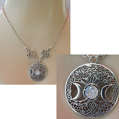 Tree of Life Necklace Moon Pendant Celtic Chain Silver Women Fashion Knot New