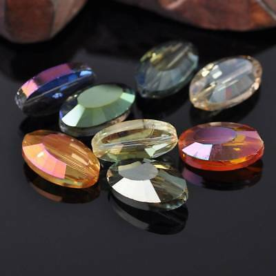 5pcs 22×13mm Oval Faceted Glass Loose Spacer Beads DIY Jewelry Findings