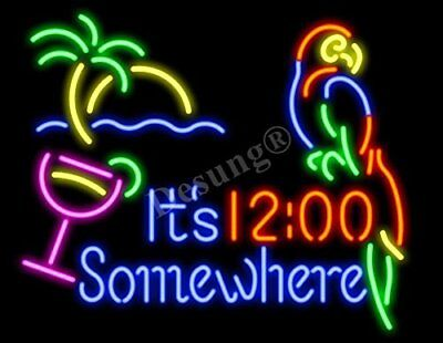 """New It's 12:00 Somewhere Parrot Palm Tree Neon Light Sign 24""""x20"""" Lamp Bar Beer"""