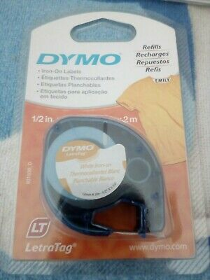 Dymo LetraTag White Iron-On Label Refill New Sealed
