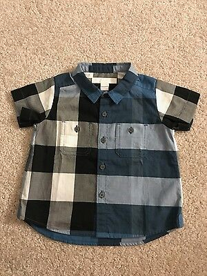 NWT AUTHENTIC Burberry Mini Camber Short Sleeve Check Shirt Size 6M NEW