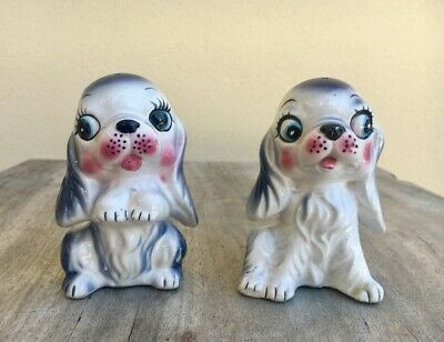 Vintage cute kitsch sweet puppy dog spaniel salt and pepper shakers Japan