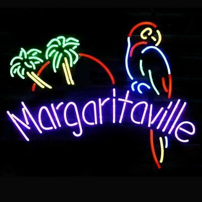 "New Margaritaville Parrot Bird Palm Trees Neon Light Sign 20""x16"" Beer Bar"