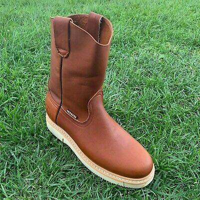 447ad46e956 MEN'S CONSTRUCTION WATER Proof Work Boots Pull On Leather oil slip ...