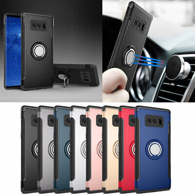 Samsung S10 Plus S9 S8 Note 9 Ring Stand Case Heavy Duty Hybrid Rubber TPU Cover