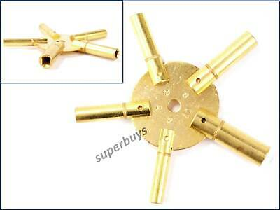 5 Prong Brass Clock Winding Keys Sizes 2 - 10 Crank Tool Universal Grandfather
