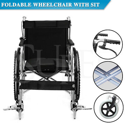 Foldable Self Propelled Wheelchair with Bedpan Padded Cushion Lightweight