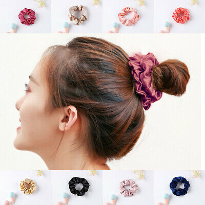 1x Hair Band Ties Beige Girl Silk Scrunchie Ponytail Holder Elastic Women