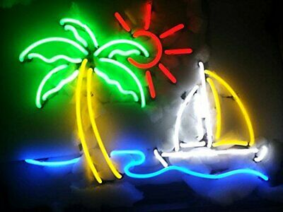 """New Palm Tree Sun Boat Neon Light Sign 24""""x20"""" Man Cave Bar Beer Real Glass"""