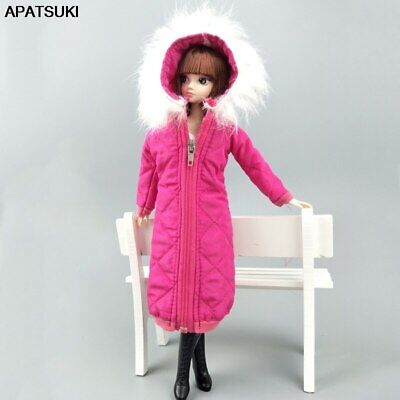 Rosy Winter Wear Long Coat Dress for 1/6 Doll Clothes Parka BJD Doll Jacket Toy