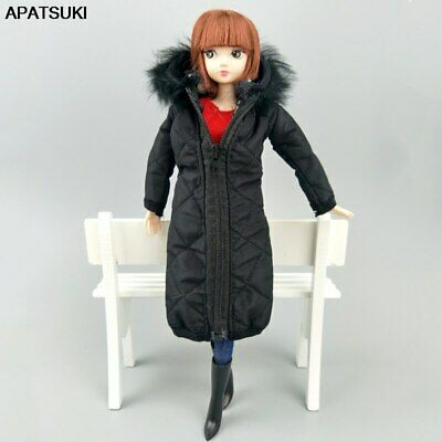 "Black Winter Long Coat for 11.5"" 1/6 Doll Clothes Outfits Parka 1/6 Doll Jacket"