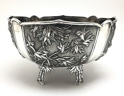 Large Antique Chinese Canton Export Silver Footed Bowl Qing Dynasty Cum Shing
