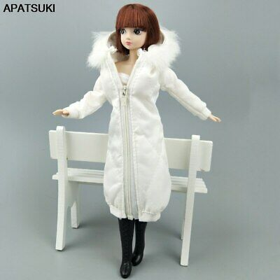 """White Winter Long Coat for 11.5"""" 1/6 Doll Clothes Dress Parka Jacket Kids Toy"""