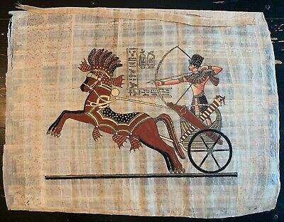 Signed Hand Painted Egyptian Papyrus Ramses on Chariot