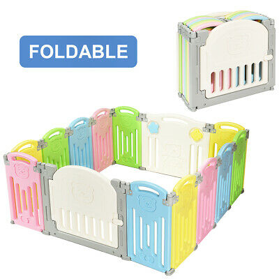 14 Panel Foldable Baby Playpen Kids Activity Center Safety Play Yard w/Lock Door