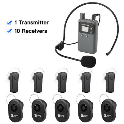 Wireless Tour Guide System Transmitter W/ Mic+10x Receivers For Tourism Meeting