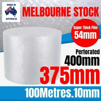 BUBBLE CUSHIONING WRAP 375mm x 100M Clear 10mm PERFORATED Bubble Wrap Roll 400mm