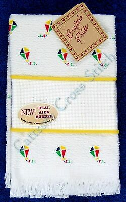 Cross Stitch Fingertip Towel Colourful Kites Baby Bright Aida Band OOP