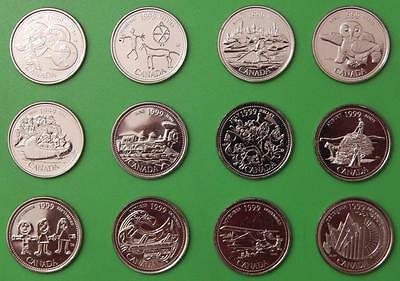 1999 Canada Complete Set of 12 Millennium Quarters From Mint Rolls
