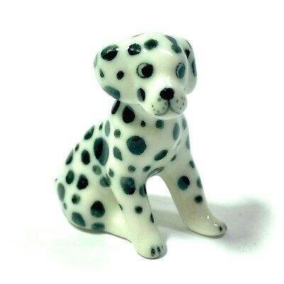 Miniature Baby Dalmatian Dog Statue Ceramic Animal Figurine Collectibles Decor