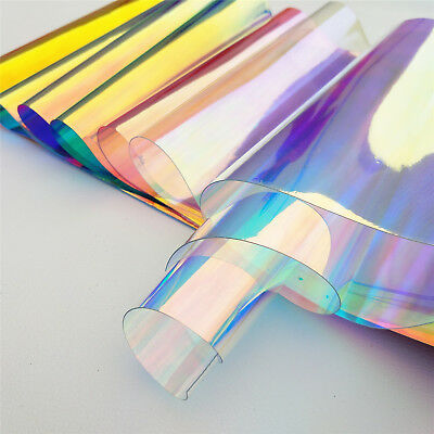 Iridescent Holographic Clear Transparent PVC Fabric Sheet Vinyl For Bows Craft