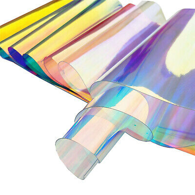 8PCS Mix Pack Iridescent Holographic Clear Transparent PVC Fabric Vinyl Film