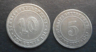 Straits Settlement 1919 KGV 5 , 10 Cent Silver Coin  Good detail