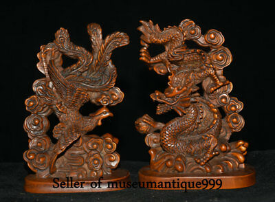 "4.2"" Old Chinese Boxwood Wood Feng Shui Dragon Phoenix Wealth Lucky Statue Pair"