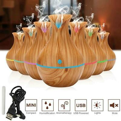 130ML Aroma Essential Oil Diffuser Wood Grain Ultrasonic Aromatherapy Humidifier