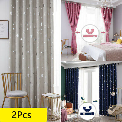 Star Thermal Blackout Curtains PAIR Eyelet Ready Made Kids Boys Girls Living Bed