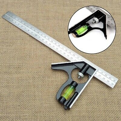 12 Inches 300mm Adjustable Stainless steel Engineer Combination Square Ruler Set