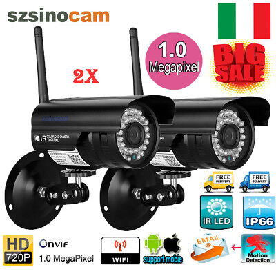 2x TELECAMERA IP CAMERA HD 720P SENZA FILI LED IR LAN MOTORIZZATA WIFI ONVIF IT