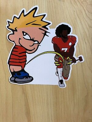 Calvin Pee On Colin Kaepernick Spoof Funny Sticker Decal