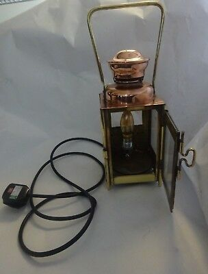 Antique Copper & Brass Oil Lamp Converted To Electric Signed A. BUTIN PARIS