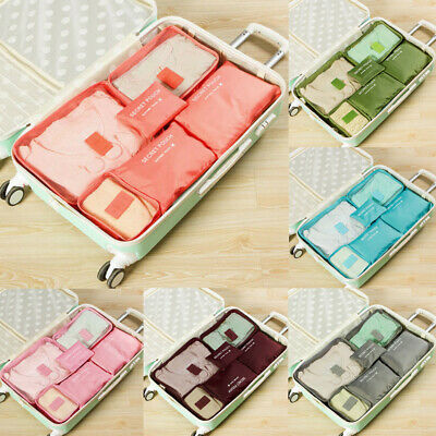 AU 6Pcs Packing Cube Travel Pouch Luggage Organiser Clothes Suitcase Storage Bag