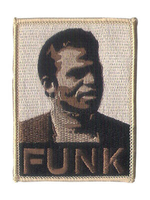 """3 3/4"""" X 2 1/2"""" Embroidered """"FUNK"""" Patch - Wax Backing with merrowed edge - FUNK"""