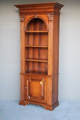 Impressive antique walnut open bookcase carved columns Georgian display cabinet