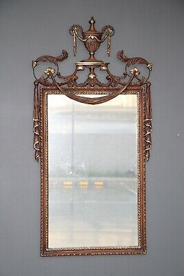 Large antique neoclassical mirror parcel gilt walnut frame carved french swags