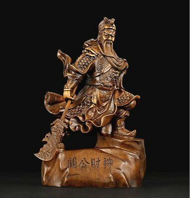 "18""Chinese Fengshui Guan Gong Yu Warrior God Dragon Guangong Sword Resin Statue"