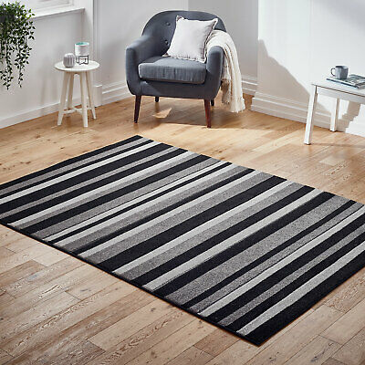 Modern Stripes Thick Pile Black Grey Lining Rug New Carved Rugs at Low Cost