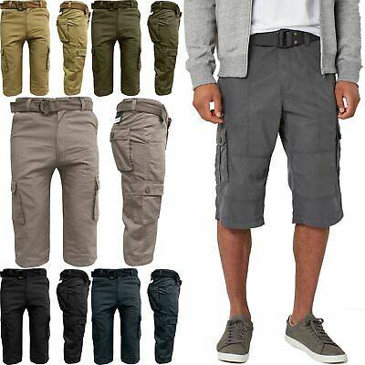 Mens 3/4 Cargo Combat Long Twill Belted Chino Shorts 100% Cotton Multi Pockets
