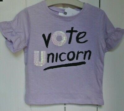 New Next little girls sequin Unicorn  top Lilac age 9-12 months