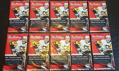 2018-19 TIM HORTONS UD 10 SEALED HOCKEY CARD PACKS LOT Mcdavid Matthews Crosby ?