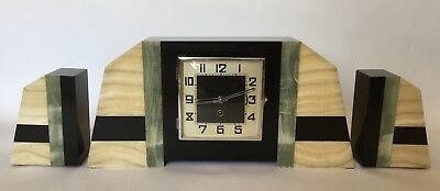 Gorgeous Art Deco Green, Honey & Black Onyx Mantle Clock w/ matching Garnitures