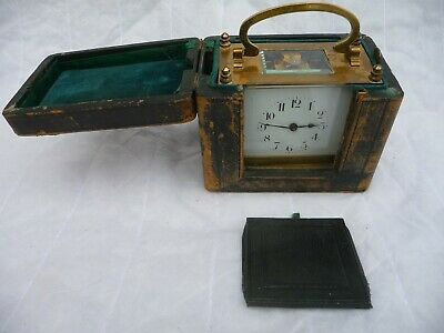 Antique French Brass Oblong Carriage Clock And Case Spares Or Repairs Project