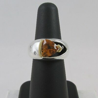 Modernist Style Sterling Silver & 14Kt Yellow Gold Citrine & Diamond Ring